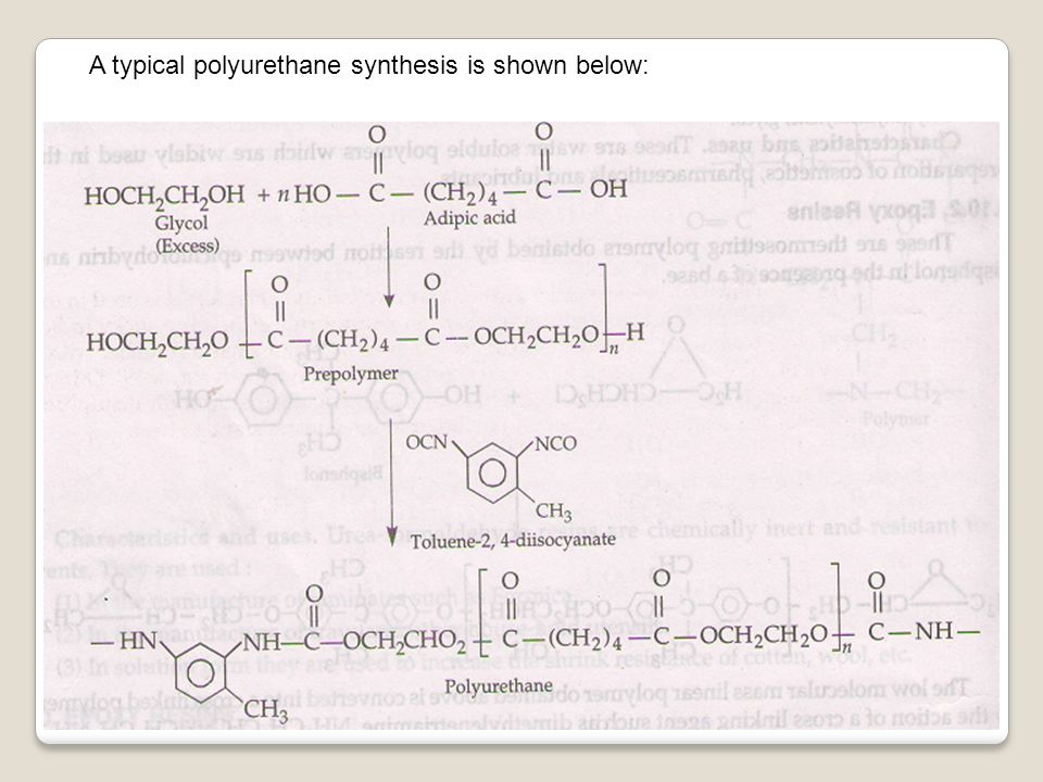 A typical polyurethane synthesis is shown below: