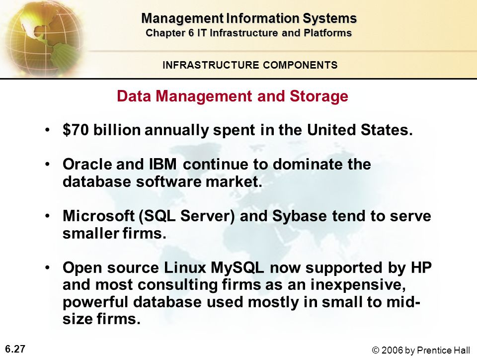 6.27 © 2006 by Prentice Hall Management Information Systems Chapter 6 IT Infrastructure and Platforms Data Management and Storage $70 billion annually spent in the United States.