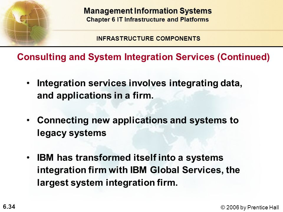 6.34 © 2006 by Prentice Hall Management Information Systems Chapter 6 IT Infrastructure and Platforms Integration services involves integrating data, and applications in a firm.