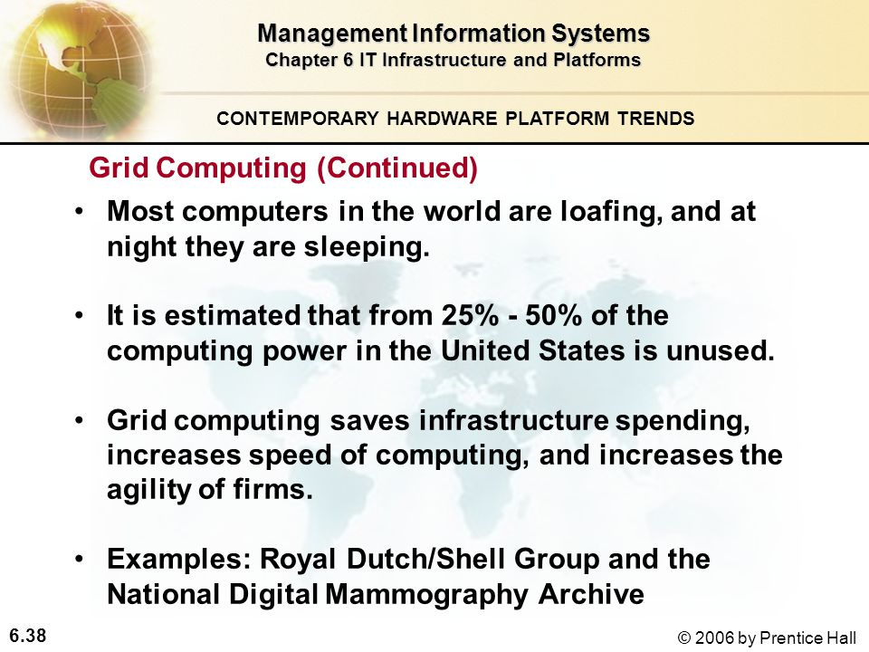 6.38 © 2006 by Prentice Hall Management Information Systems Chapter 6 IT Infrastructure and Platforms Most computers in the world are loafing, and at night they are sleeping.