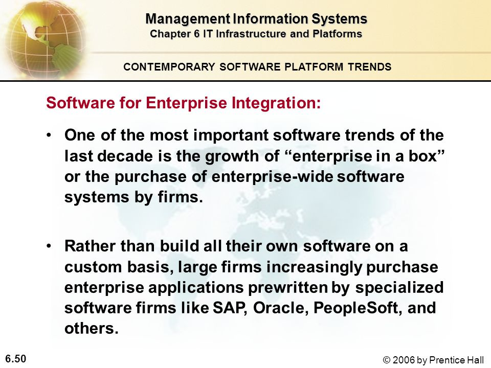 6.50 © 2006 by Prentice Hall Management Information Systems Chapter 6 IT Infrastructure and Platforms Software for Enterprise Integration: One of the most important software trends of the last decade is the growth of enterprise in a box or the purchase of enterprise-wide software systems by firms.