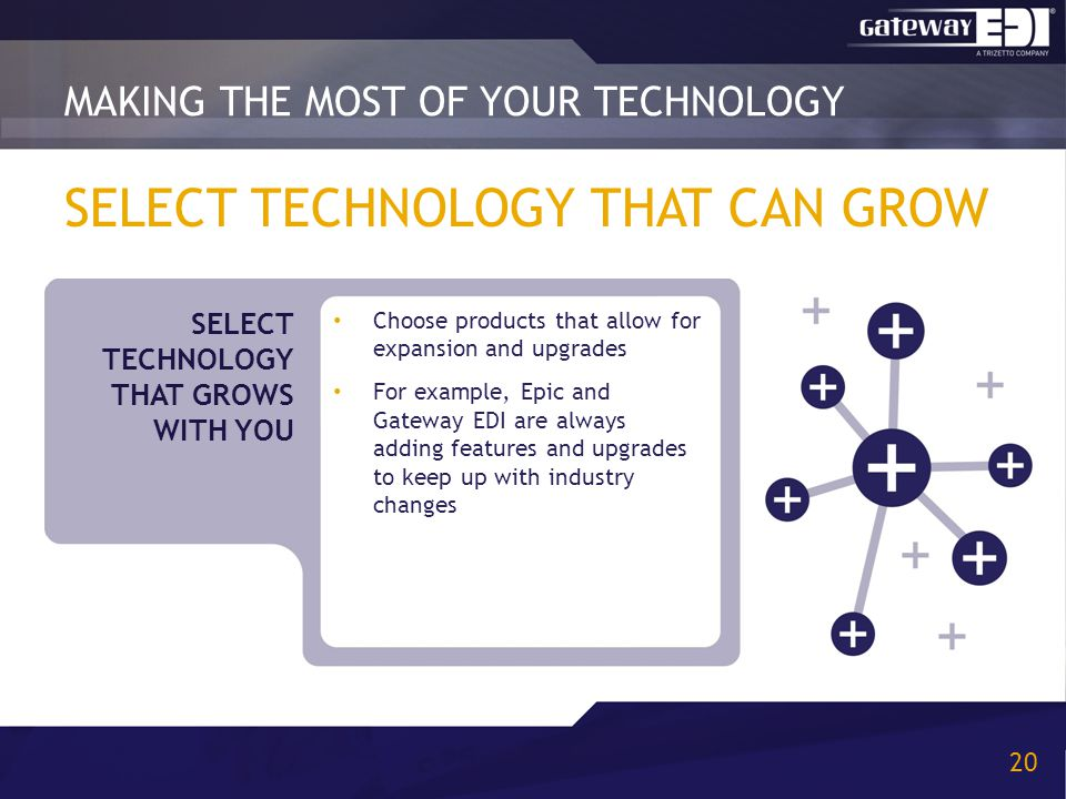 SELECT TECHNOLOGY THAT CAN GROW Choose products that allow for expansion and upgrades For example, Epic and Gateway EDI are always adding features and upgrades to keep up with industry changes MAKING THE MOST OF YOUR TECHNOLOGY 20 SELECT TECHNOLOGY THAT GROWS WITH YOU