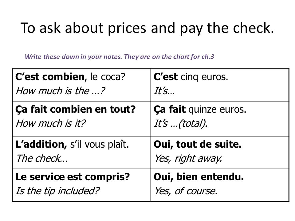 To ask about prices and pay the check.C'est combien, le coca.