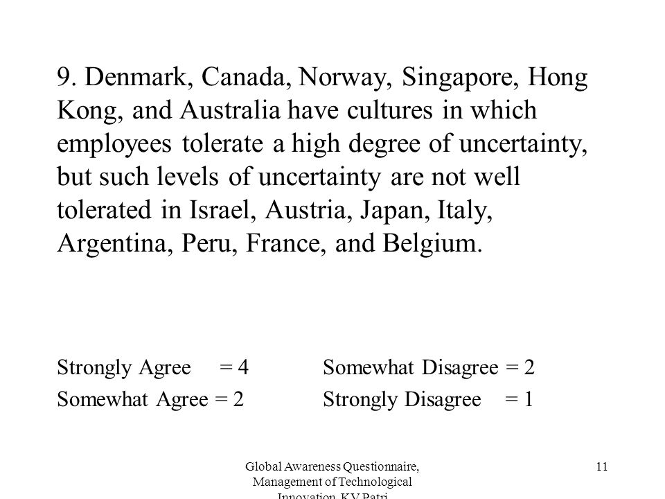 Global Awareness Questionnaire, Management of Technological Innovation, KV Patri 11 9. Denmark, Canada, Norway, Singapore, Hong Kong, and Australia ha