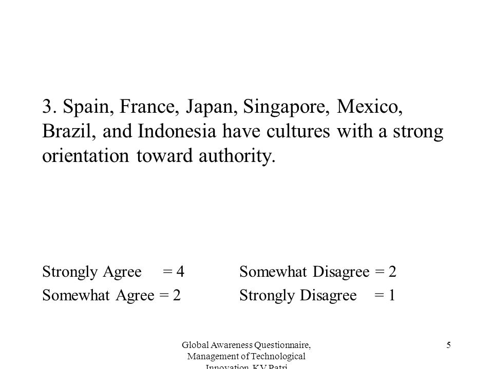 Global Awareness Questionnaire, Management of Technological Innovation, KV Patri 5 3. Spain, France, Japan, Singapore, Mexico, Brazil, and Indonesia h