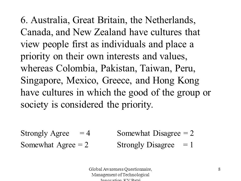 Global Awareness Questionnaire, Management of Technological Innovation, KV Patri 8 6. Australia, Great Britain, the Netherlands, Canada, and New Zeala