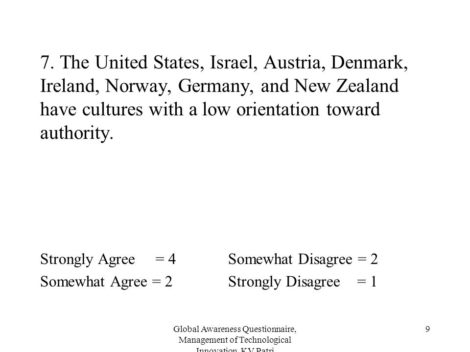 Global Awareness Questionnaire, Management of Technological Innovation, KV Patri 9 7. The United States, Israel, Austria, Denmark, Ireland, Norway, Ge