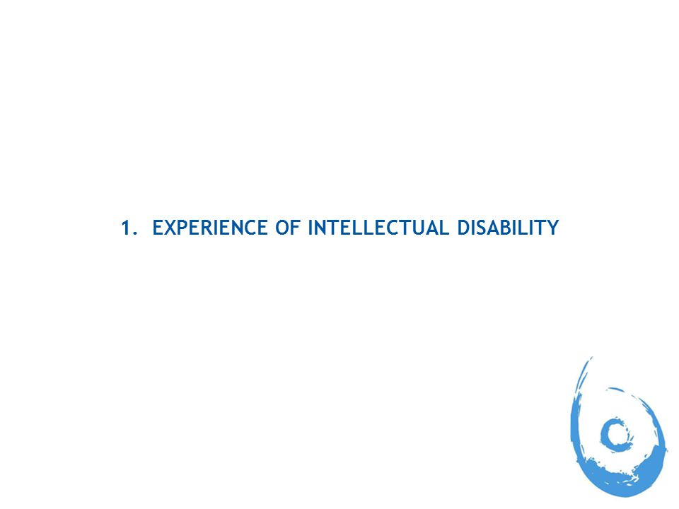 1. EXPERIENCE OF INTELLECTUAL DISABILITY