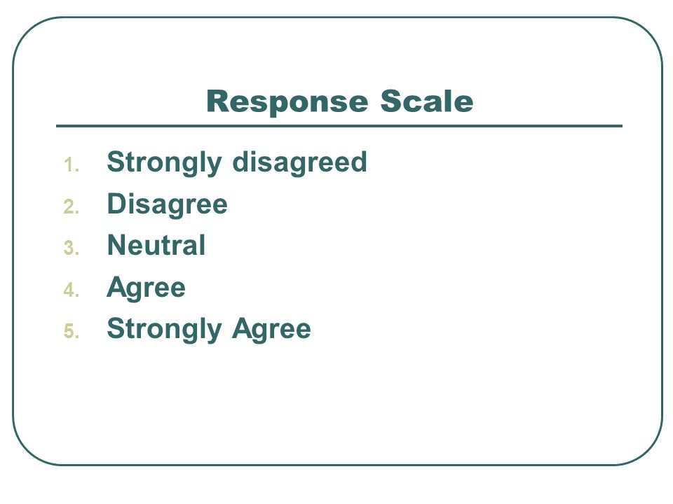 Response Scale 1. Strongly disagreed 2. Disagree 3. Neutral 4. Agree 5. Strongly Agree