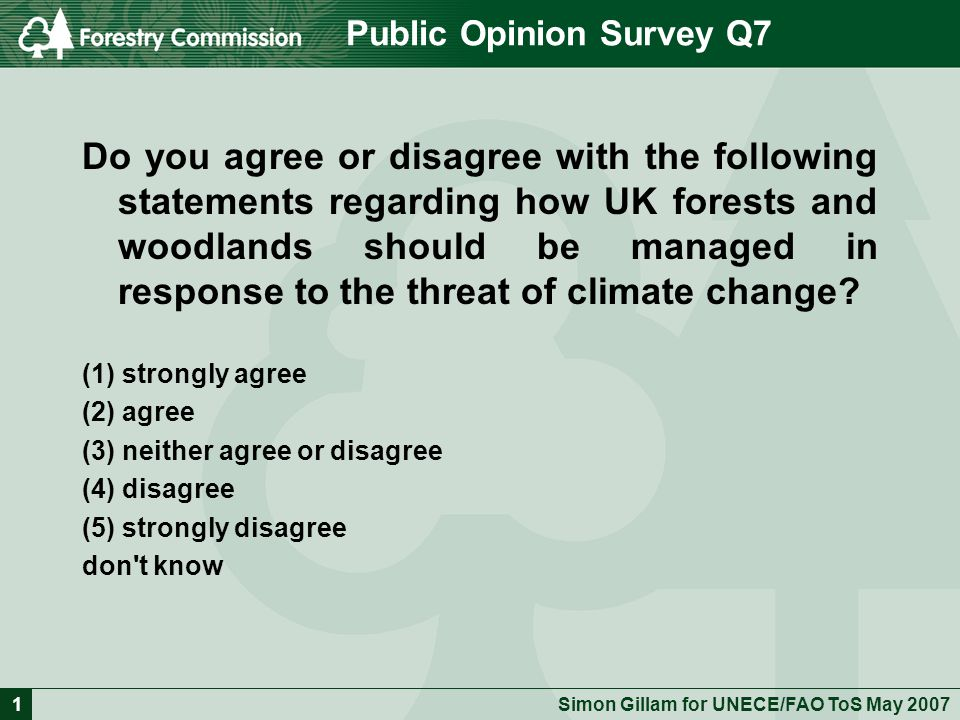 Simon Gillam for UNECE/FAO ToS May Public Opinion Survey Q7 Do you agree or disagree with the following statements regarding how UK forests and woodlands should be managed in response to the threat of climate change.