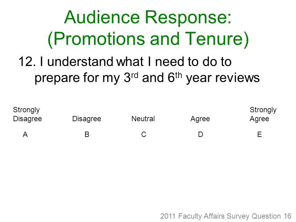 Audience Response: (Promotions and Tenure) 12.