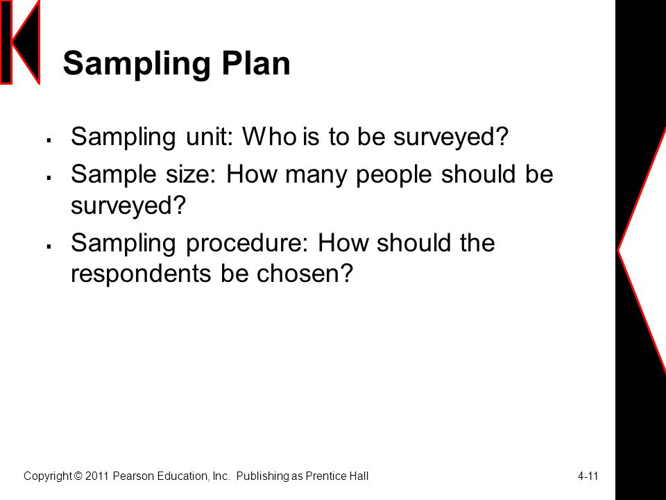 Sampling Plan  Sampling unit: Who is to be surveyed.