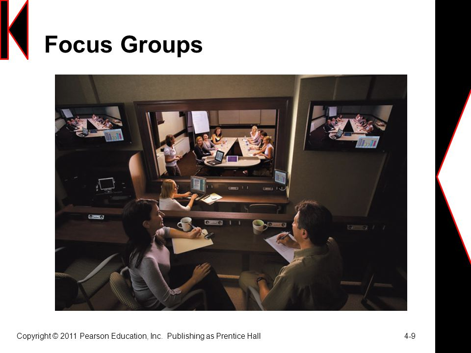 Focus Groups Copyright © 2011 Pearson Education, Inc. Publishing as Prentice Hall 4-9