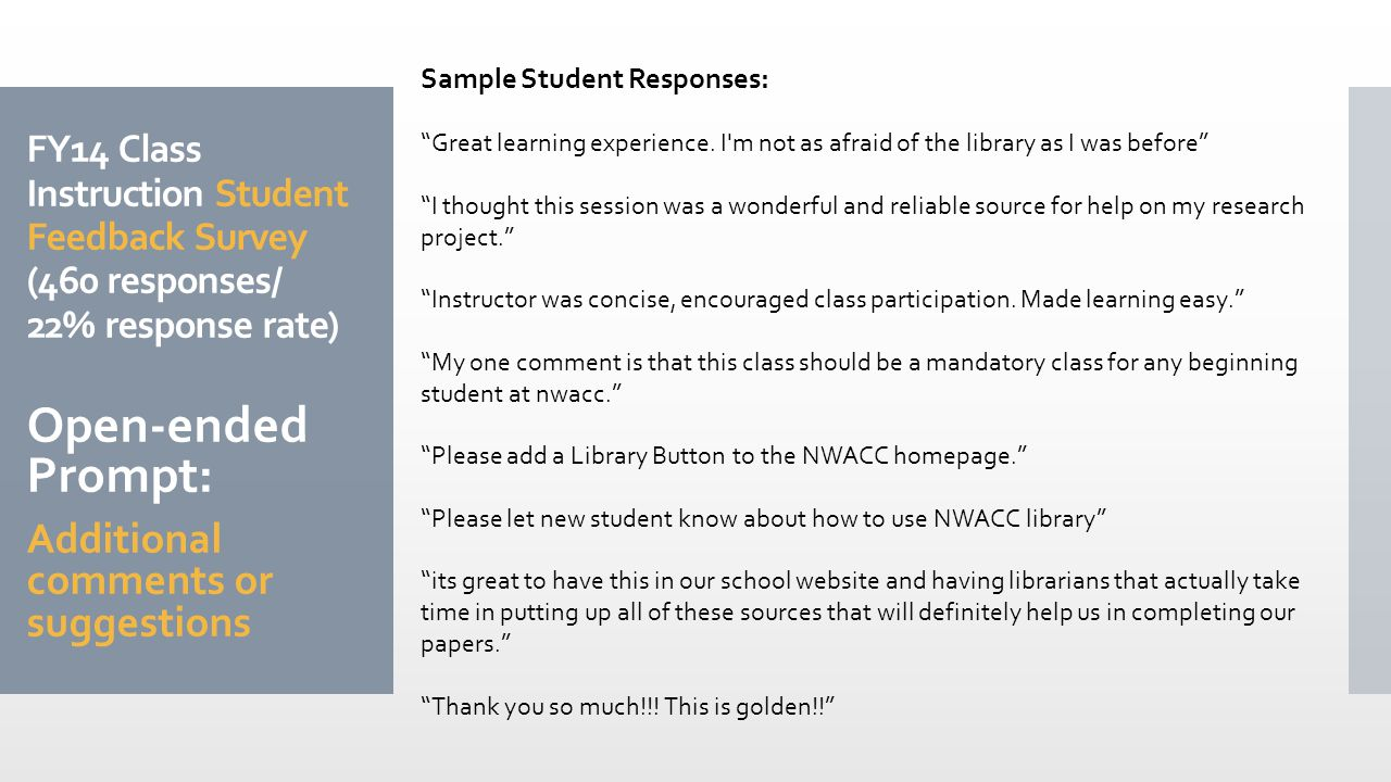 FY14 Class Instruction Student Feedback Survey (460 responses/ 22% response rate) Open-ended Prompt: Additional comments or suggestions Sample Student Responses: Great learning experience.