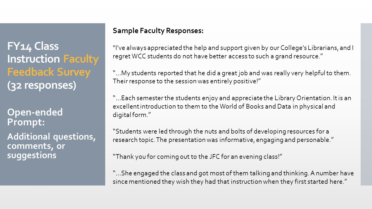 FY14 Class Instruction Faculty Feedback Survey (32 responses) Open-ended Prompt: Additional questions, comments, or suggestions Sample Faculty Responses: I ve always appreciated the help and support given by our College s Librarians, and I regret WCC students do not have better access to such a grand resource. …My students reported that he did a great job and was really very helpful to them.