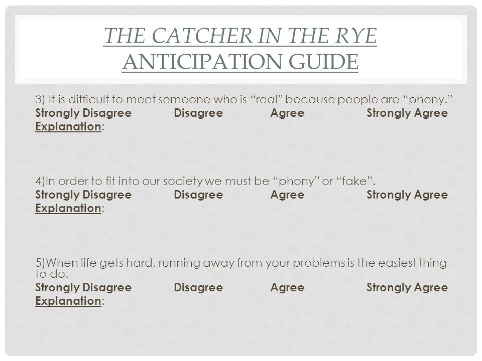 Catcher in the Rye homework?