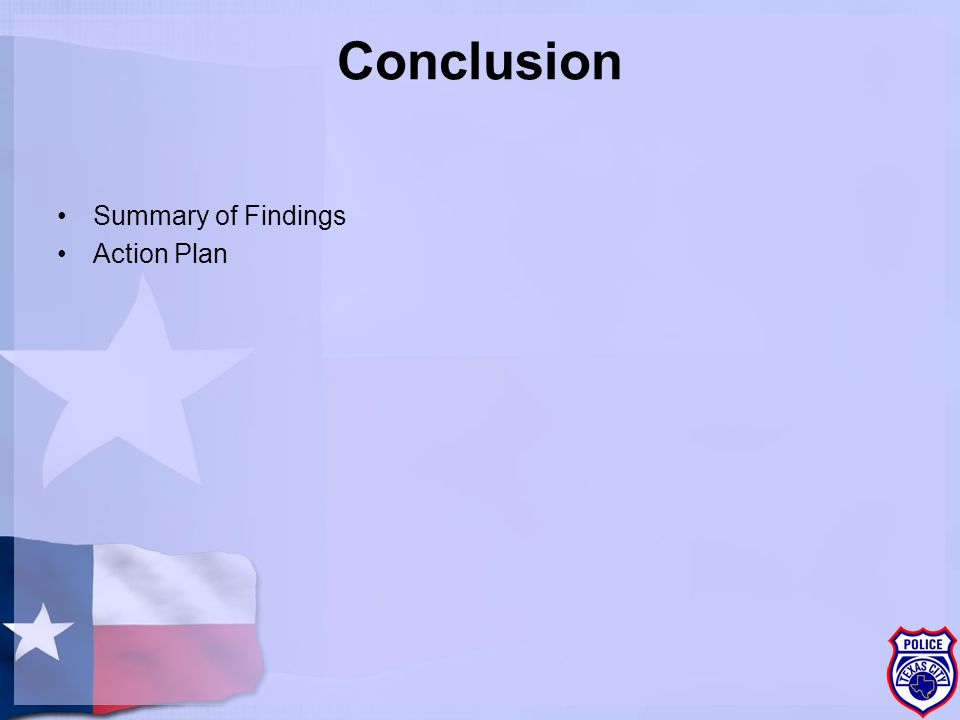 Conclusion Summary of Findings Action Plan