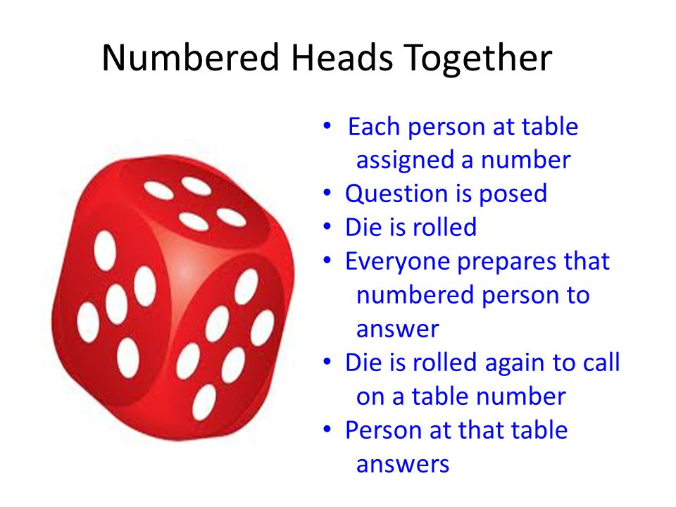 Numbered Heads Together Each person at table assigned a number Question is posed Die is rolled Everyone prepares that numbered person to answer Die is rolled again to call on a table number Person at that table answers