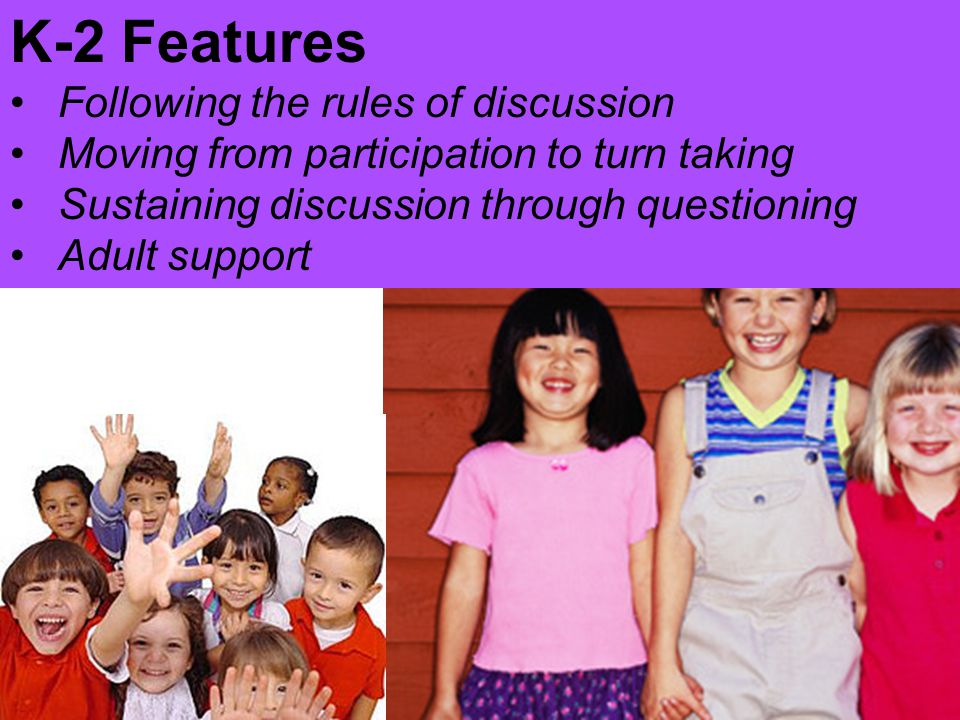 K-2 Features Following the rules of discussion Moving from participation to turn taking Sustaining discussion through questioning Adult support