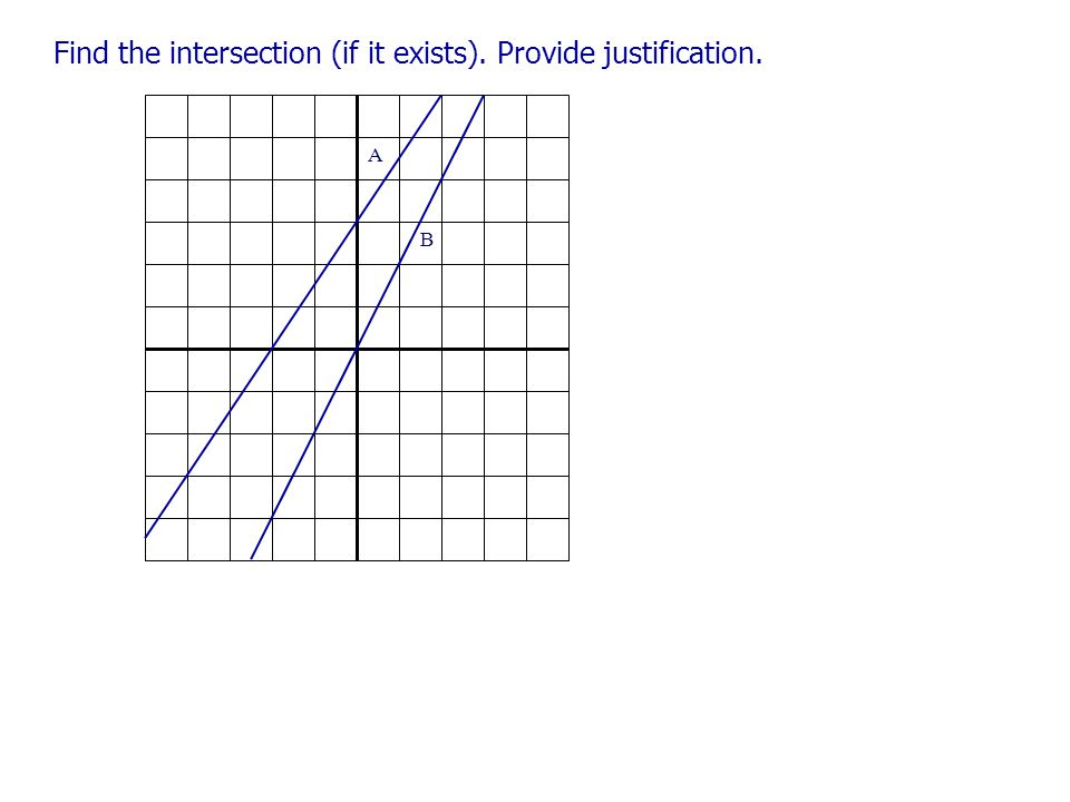 Find the intersection (if it exists). Provide justification. B A B A