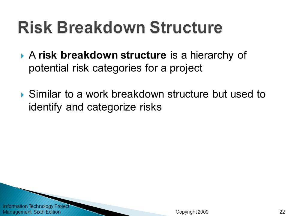 Copyright 2009  A risk breakdown structure is a hierarchy of potential risk categories for a project  Similar to a work breakdown structure but used to identify and categorize risks Information Technology Project Management, Sixth Edition22