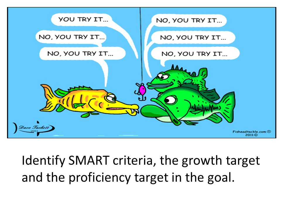 Identify SMART criteria, the growth target and the proficiency target in the goal.