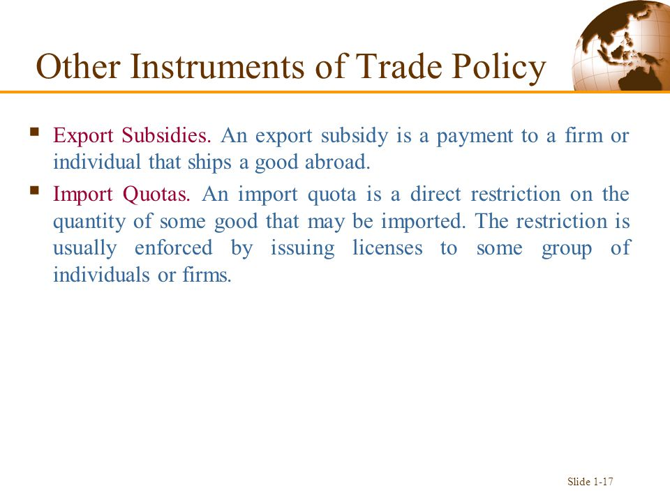 Other Instruments of Trade Policy  Export Subsidies.