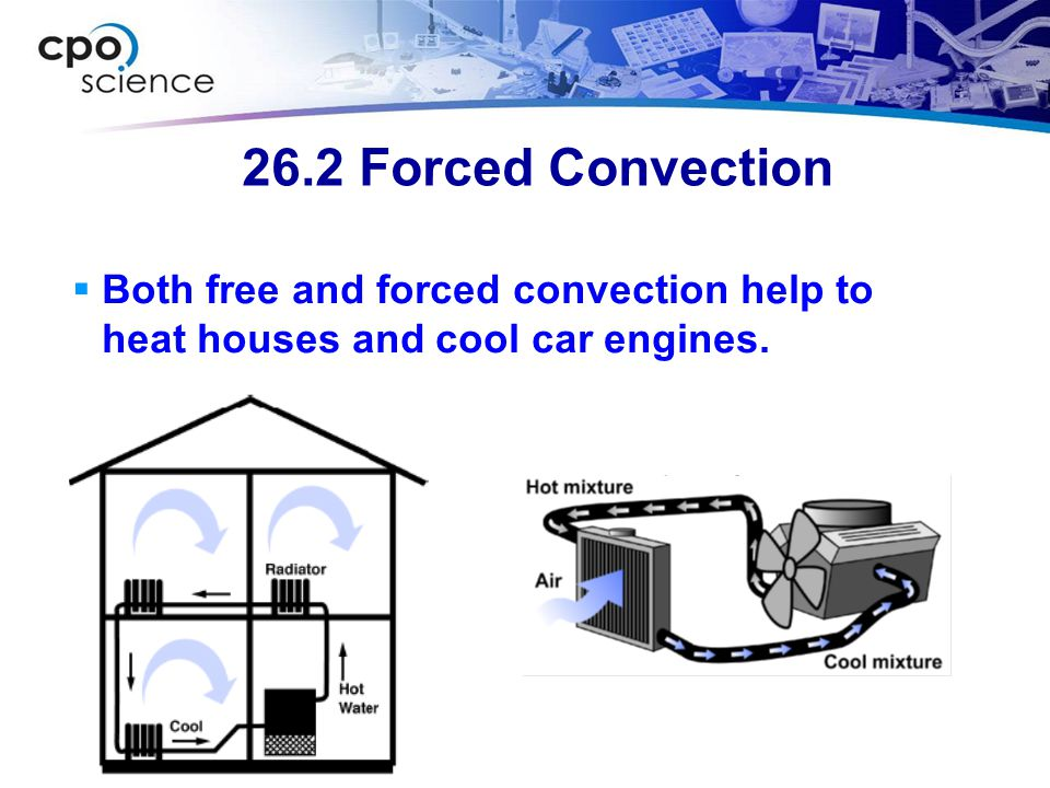 26.2 Forced Convection  Both free and forced convection help to heat houses and cool car engines.