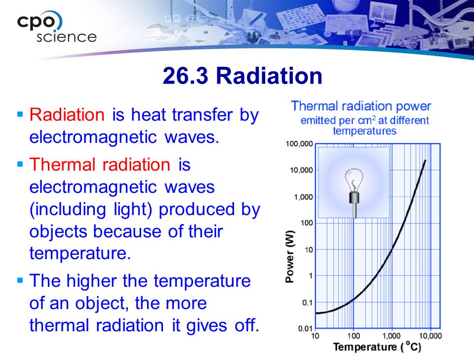 26.3 Radiation  Radiation is heat transfer by electromagnetic waves.
