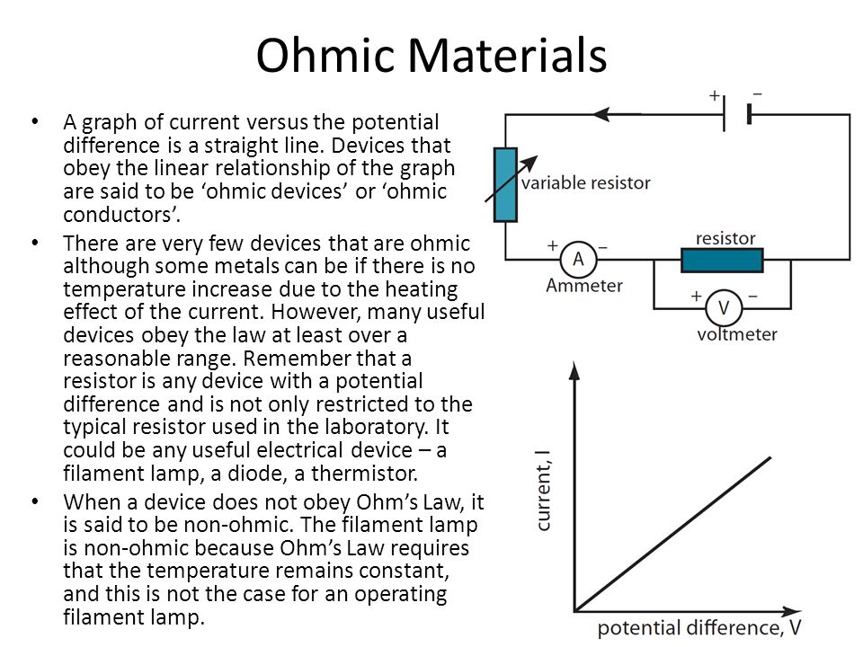 Ohmic Materials A graph of current versus the potential difference is a straight line.