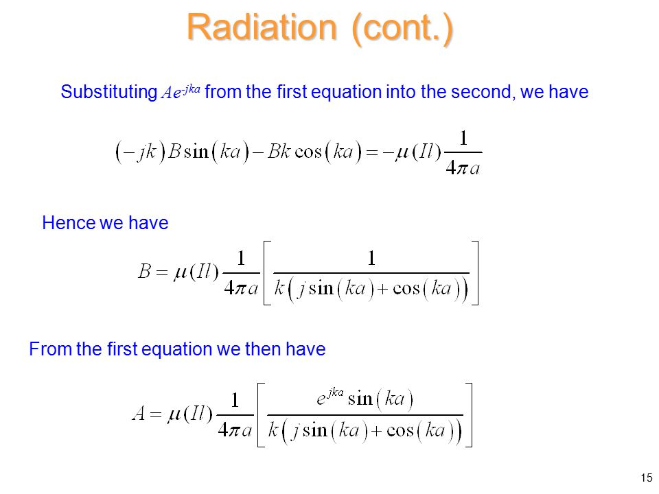 Substituting Ae -jka from the first equation into the second, we have Radiation (cont.) Hence we have From the first equation we then have 15