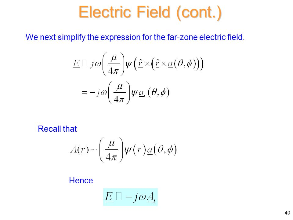 Electric Field (cont.) We next simplify the expression for the far-zone electric field.