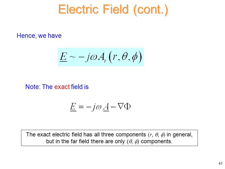 Hence, we have Electric Field (cont.) Note: The exact field is 41 The exact electric field has all three components (r, ,  ) in general, but in the far field there are only ( ,  ) components.