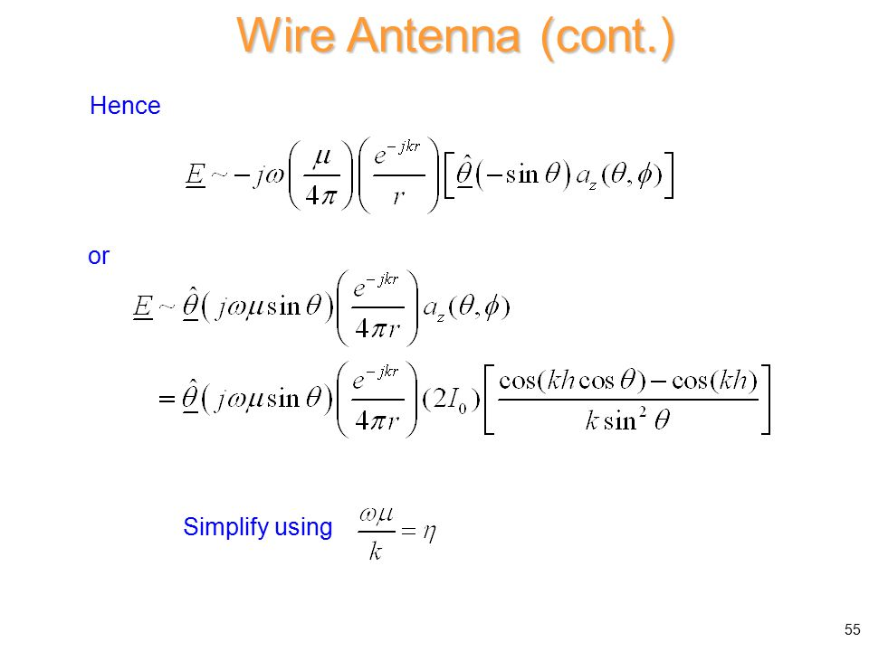 Hence or Simplify using Wire Antenna (cont.) 55