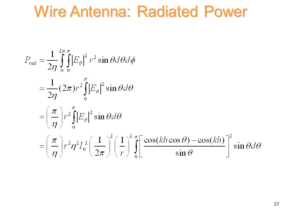 Wire Antenna: Radiated Power 57