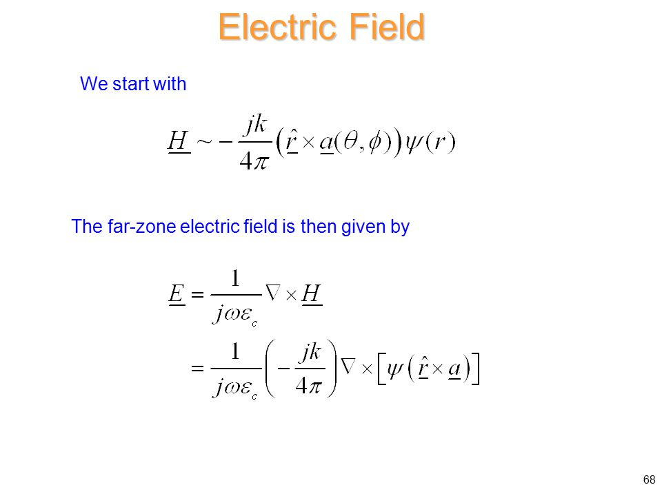 The far-zone electric field is then given by Electric Field We start with 68