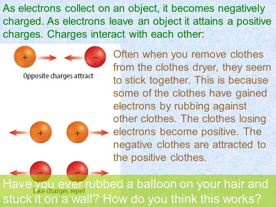 As electrons collect on an object, it becomes negatively charged.