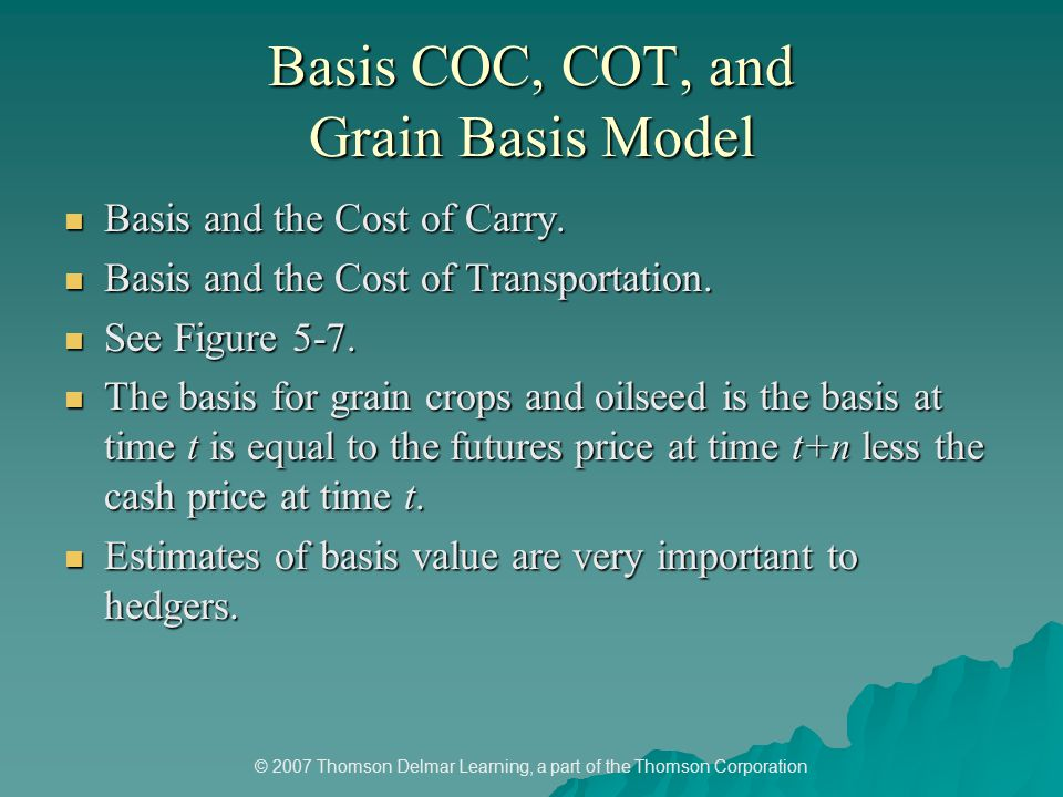 © 2007 Thomson Delmar Learning, a part of the Thomson Corporation Basis COC, COT, and Grain Basis Model Basis and the Cost of Carry.