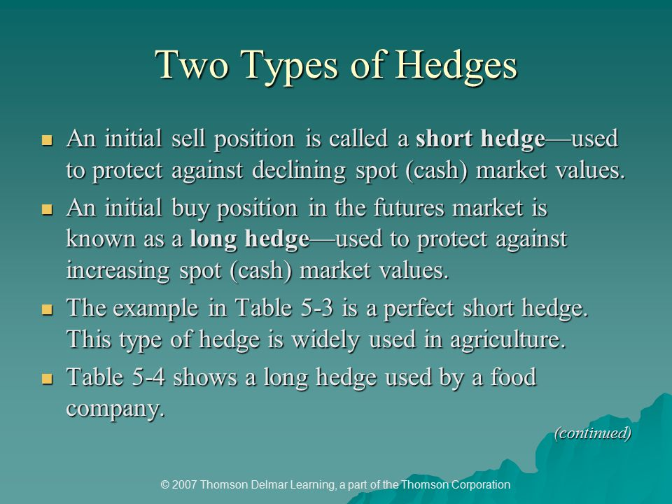 © 2007 Thomson Delmar Learning, a part of the Thomson Corporation An initial sell position is called a short hedge—used to protect against declining spot (cash) market values.