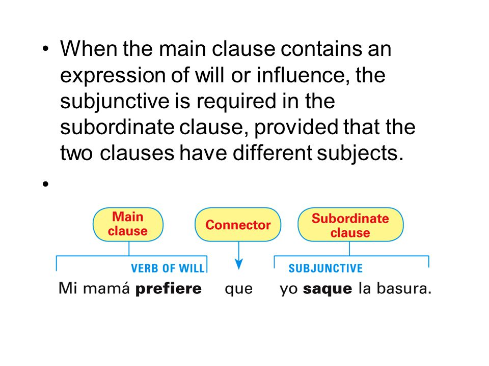 When the main clause contains an expression of will or influence, the subjunctive is required in the subordinate clause, provided that the two clauses have different subjects.