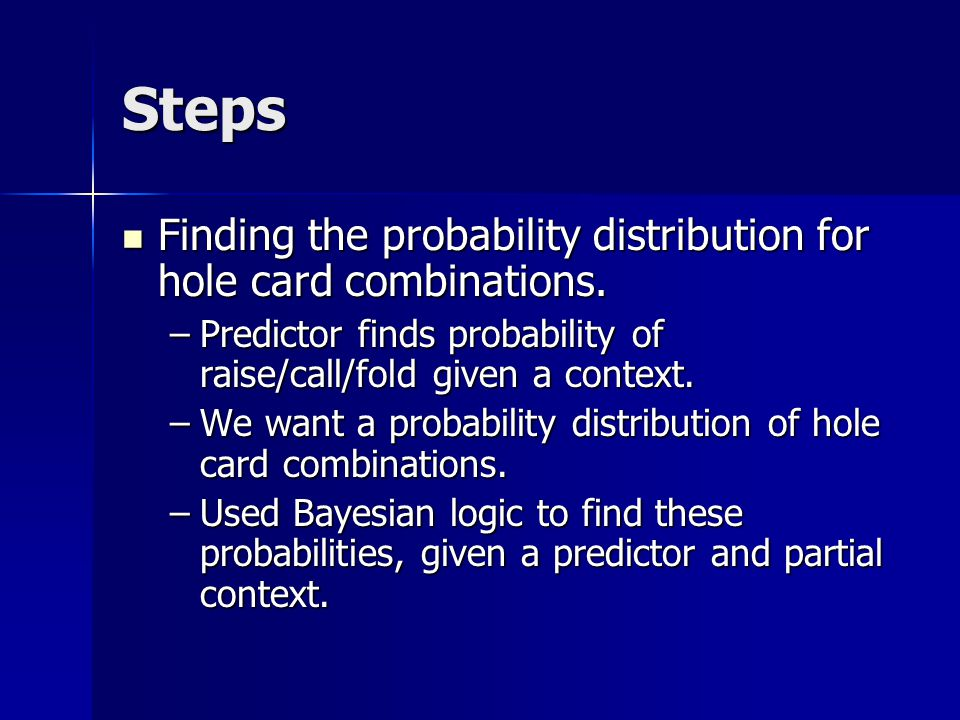 Steps Finding the probability distribution for hole card combinations.