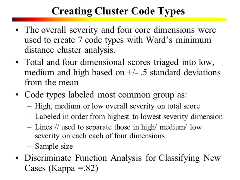 Creating Cluster Code Types The overall severity and four core dimensions were used to create 7 code types with Ward's minimum distance cluster analysis.