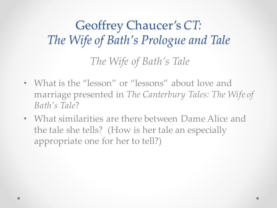 geoffrey chaucers wife of bath essay ''the wife of bath's tale'' is one of the most famous of all of ''the geoffrey chaucer essay topics the wife of bath's tale essay topics related study.
