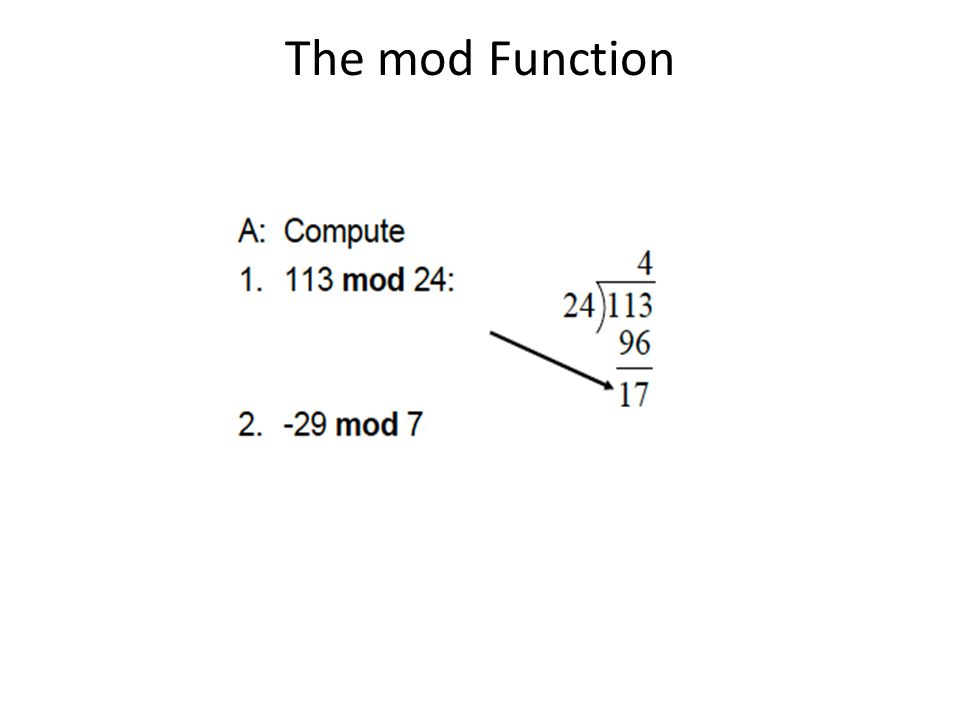 The mod Function