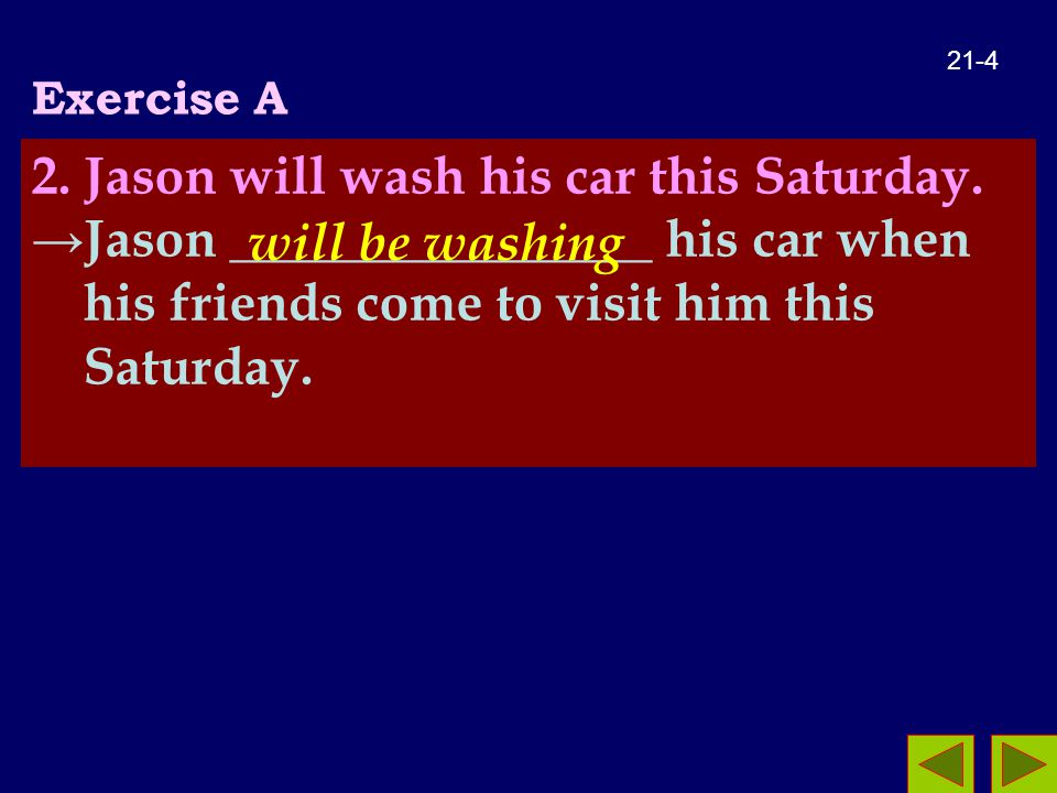 Exercise A 2. Jason will wash his car this Saturday.