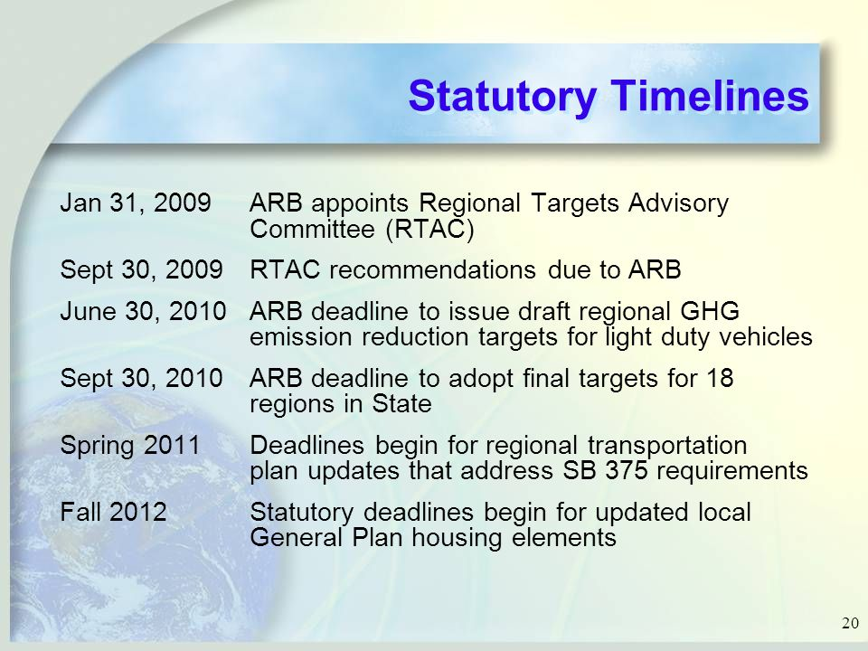 20 Statutory Timelines Jan 31, 2009ARB appoints Regional Targets Advisory Committee (RTAC) Sept 30, 2009RTAC recommendations due to ARB June 30, 2010ARB deadline to issue draft regional GHG emission reduction targets for light duty vehicles Sept 30, 2010ARB deadline to adopt final targets for 18 regions in State Spring 2011Deadlines begin for regional transportation plan updates that address SB 375 requirements Fall 2012Statutory deadlines begin for updated local General Plan housing elements