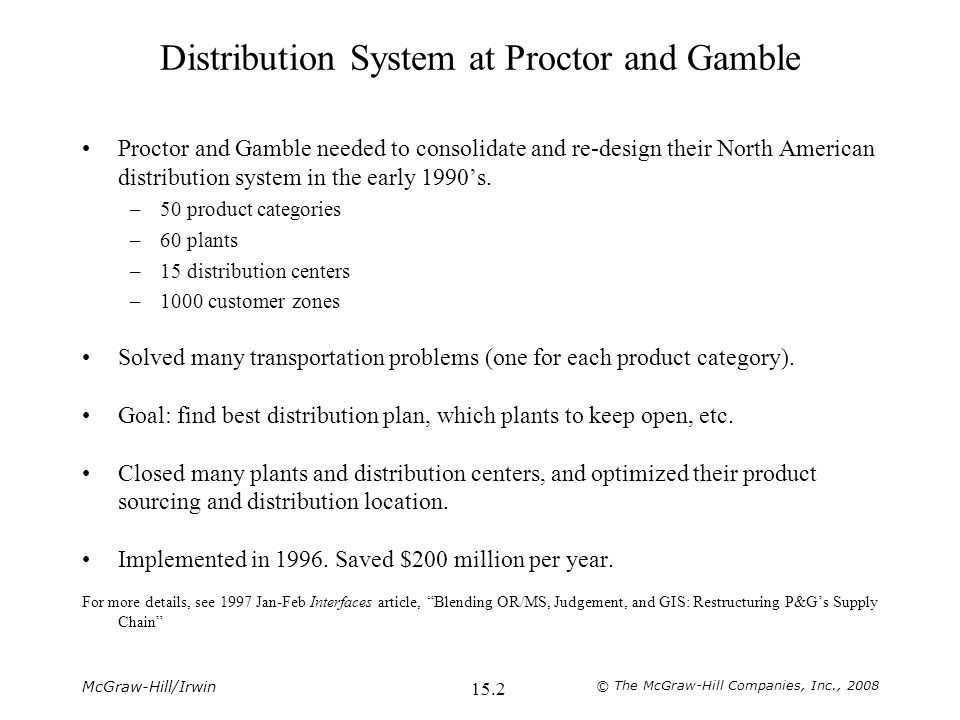 McGraw-Hill/Irwin © The McGraw-Hill Companies, Inc., Distribution System at Proctor and Gamble Proctor and Gamble needed to consolidate and re-design their North American distribution system in the early 1990's.