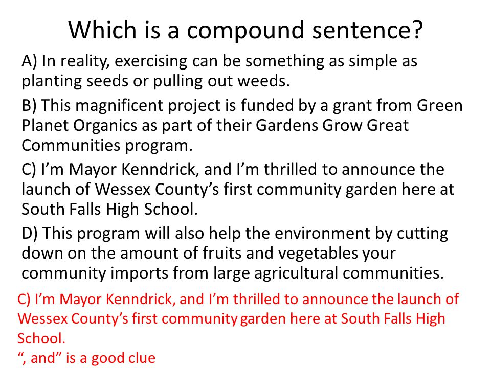 Which is a compound sentence? A) In reality, exercising can be something as simple as planting seeds or pulling out weeds. B) This magnificent project