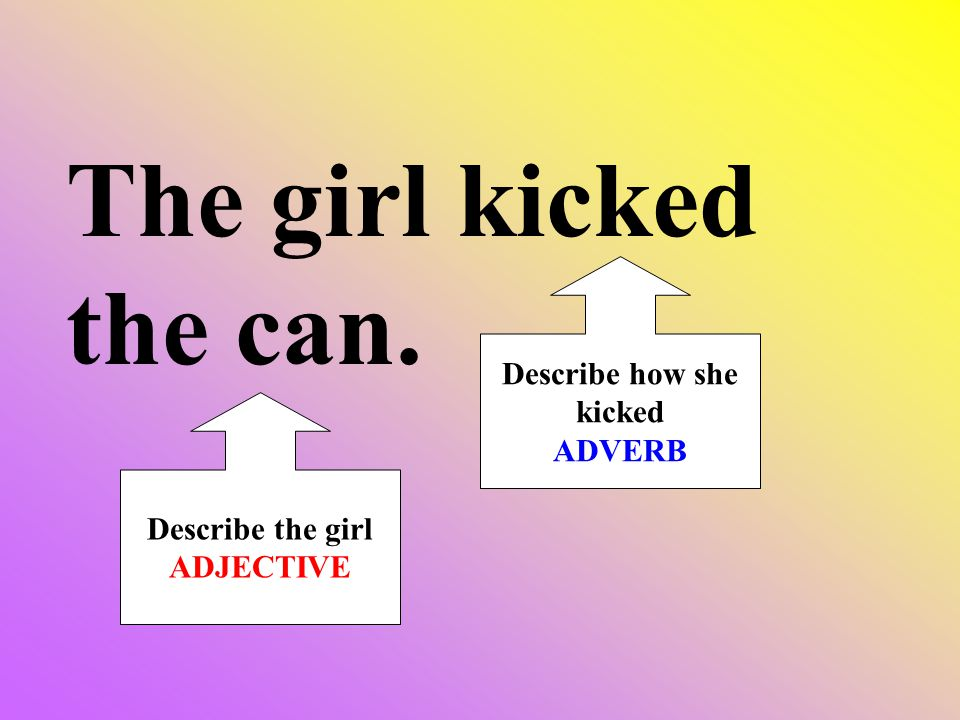 The girl kicked the can. Describe the girl ADJECTIVE Describe how she kicked ADVERB