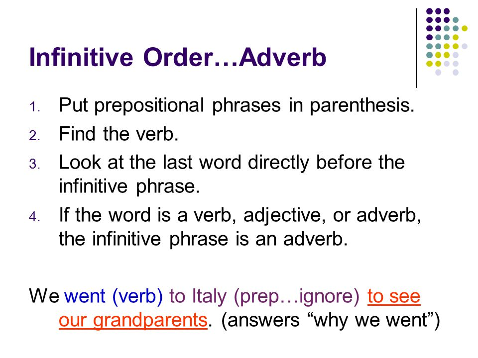 Infinitive Order…Adjective 1. Cross out all prepositional phrases.